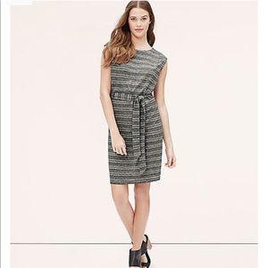 Ann Taylor Loft Striped Tie Waist Tee Dress, S